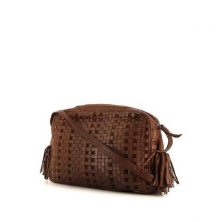You re viewing  Perfect Bottega Veneta Replica shoulder bag in brown  braided leather and brown suede 5bea0d301ecf5
