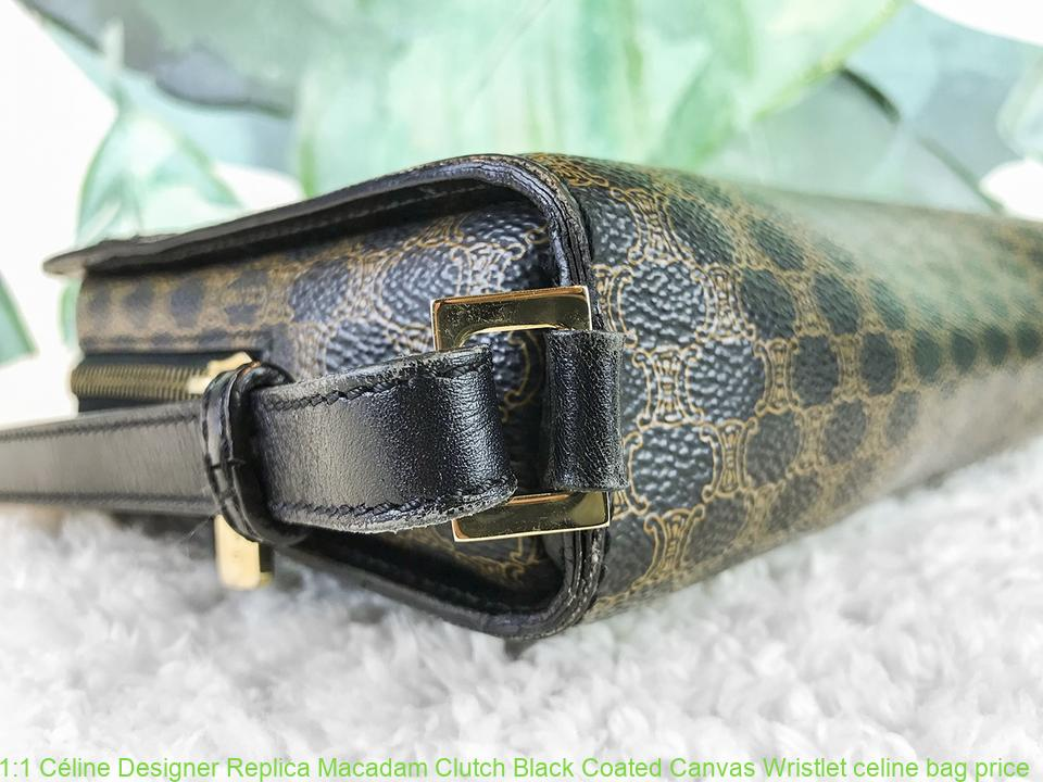ce8804305064 1 1 Céline Designer Replica Macadam Clutch Black Coated Canvas Wristlet  celine bag price
