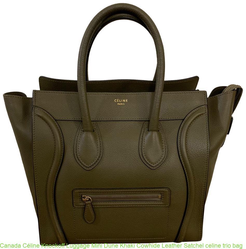5a5db37f5c53 Canada Céline Knockoff Luggage Mini Dune Khaki Cowhide Leather Satchel  celine trio bag