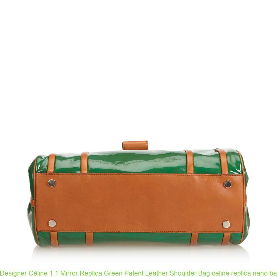 Designer Céline 1 1 Mirror Replica Green Patent Leather Shoulder Bag celine  replica nano bag 1a353aefcb4ed