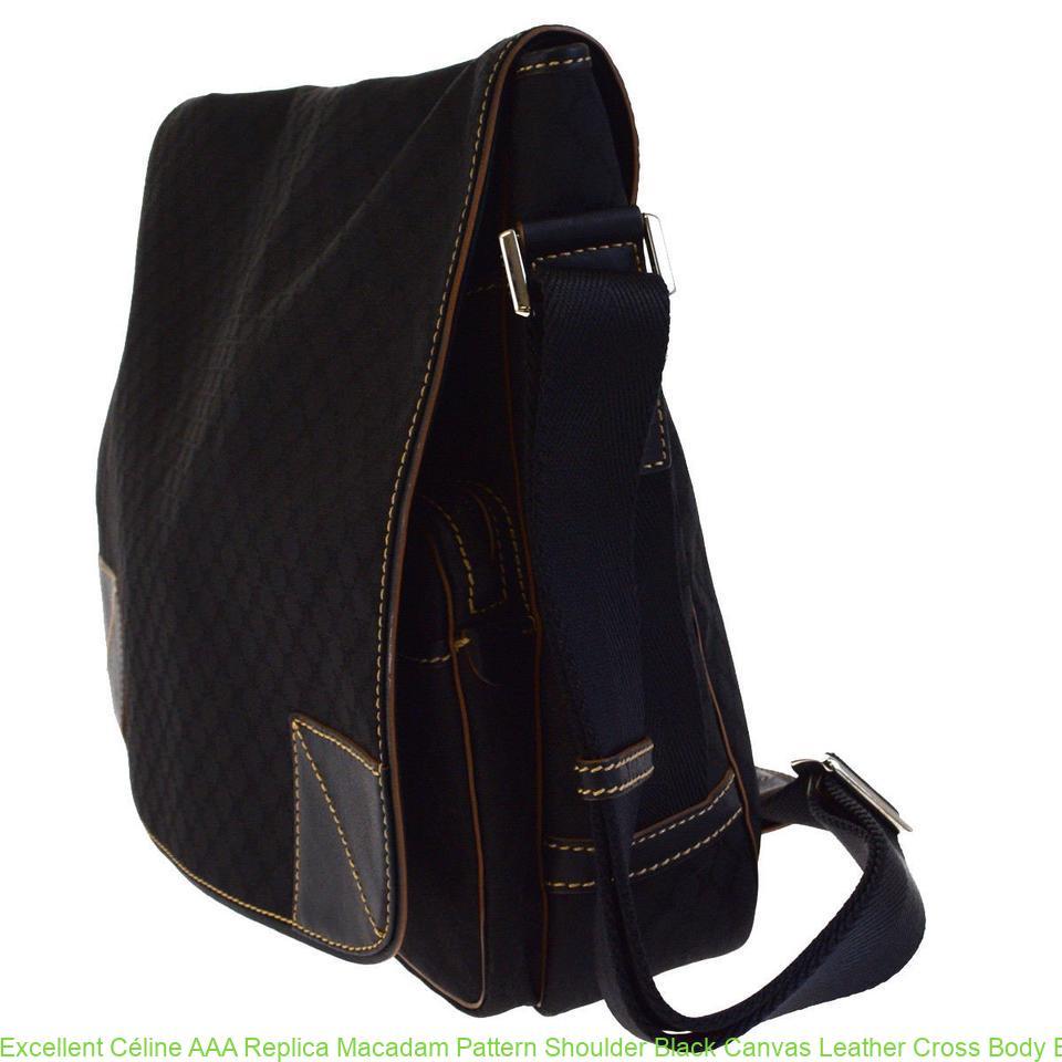 1f1b4ed7e Excellent Céline AAA Replica Macadam Pattern Shoulder Black Canvas Leather  Cross Body Bag celine box bag