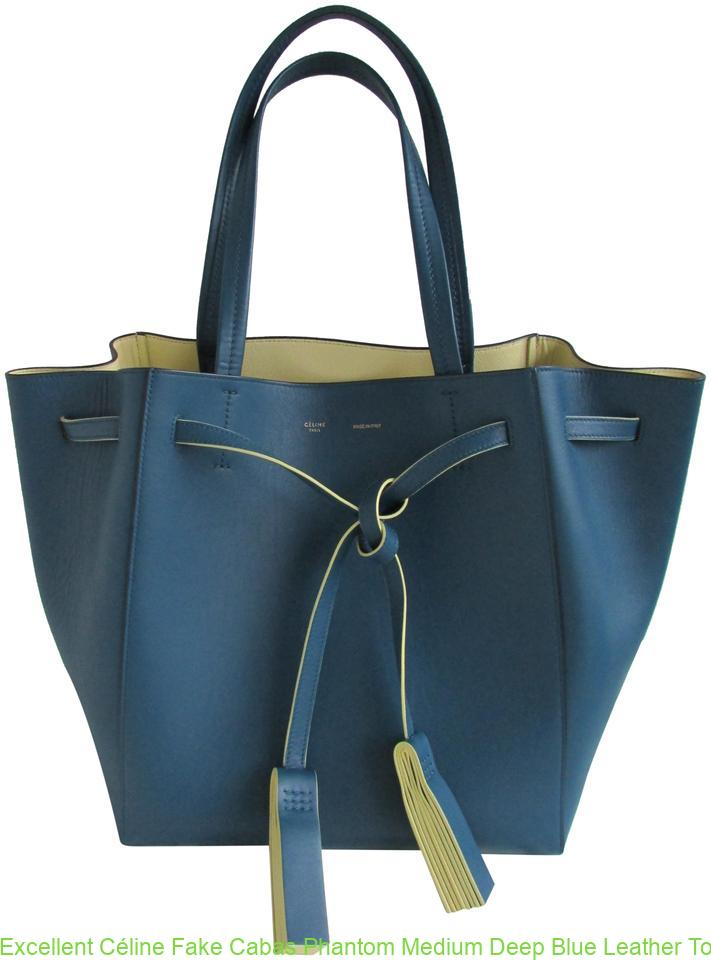 bd92197474 Excellent Céline Fake Cabas Phantom Medium Deep Blue Leather Tote celine  replica belt bag