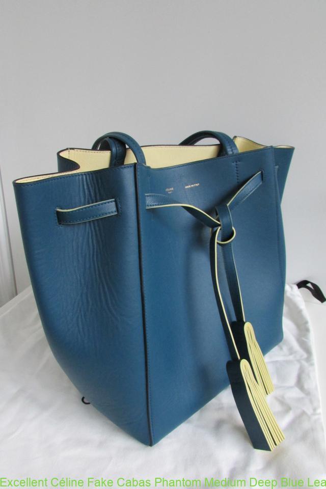 Excellent Céline Fake Cabas Phantom Medium Deep Blue Leather Tote celine  replica belt bag 2b67fcd135469