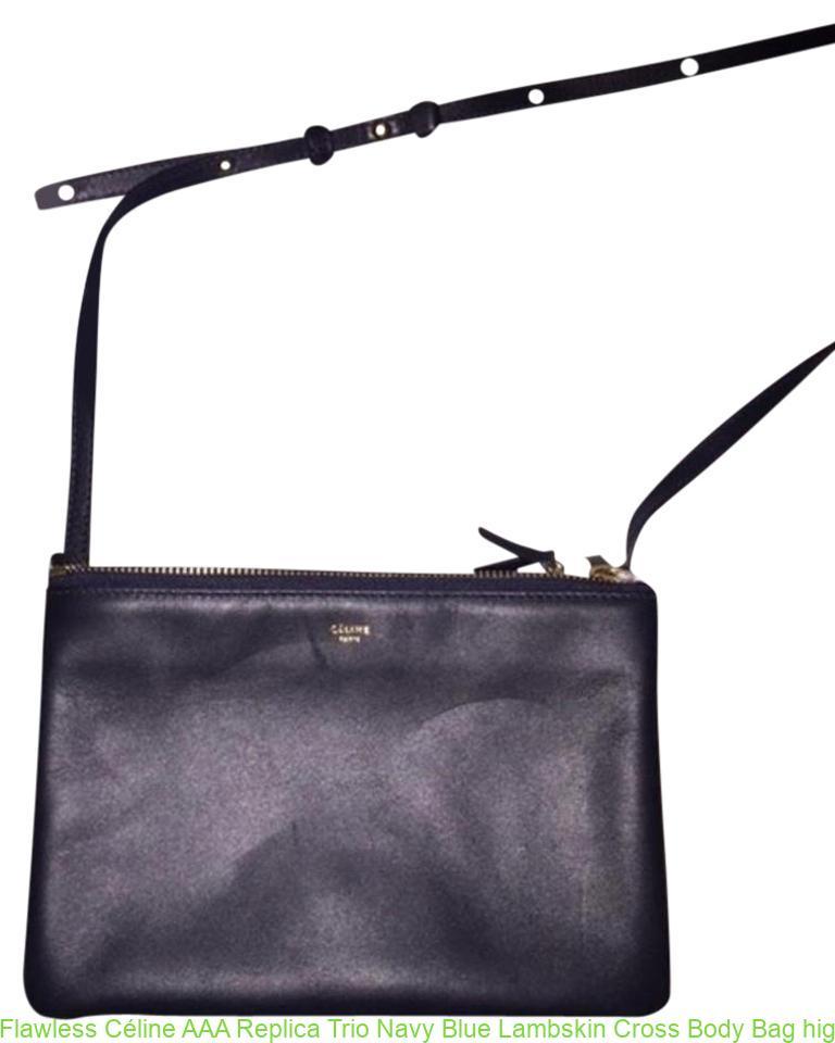3770fe268e16 Flawless Céline AAA Replica Trio Navy Blue Lambskin Cross Body Bag high  quality replica handbags china