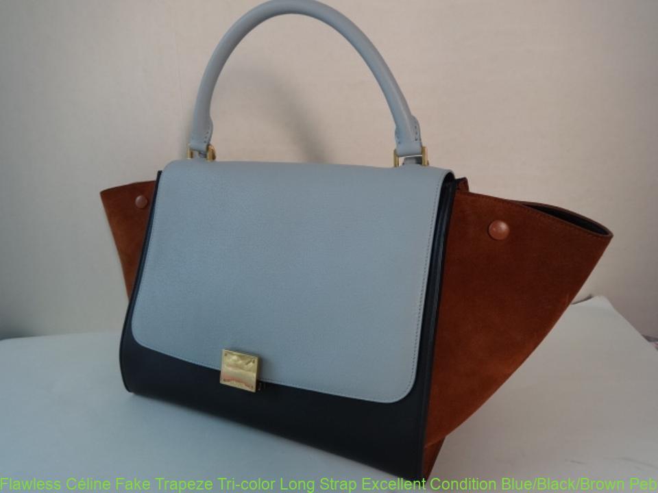 517caac528bc Flawless Céline Fake Trapeze Tri-color Long Strap Excellent Condition  Blue Black Brown Pebble Leather Suede Shoulder Bag celine mini belt bag