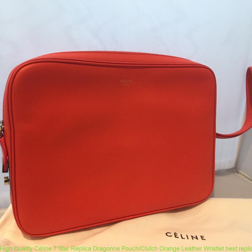 High Quality Céline 7 Star Replica Dragonne Pouch Clutch Orange Leather  Wristlet best replica handbags 2018 3b1b1b9baffb7