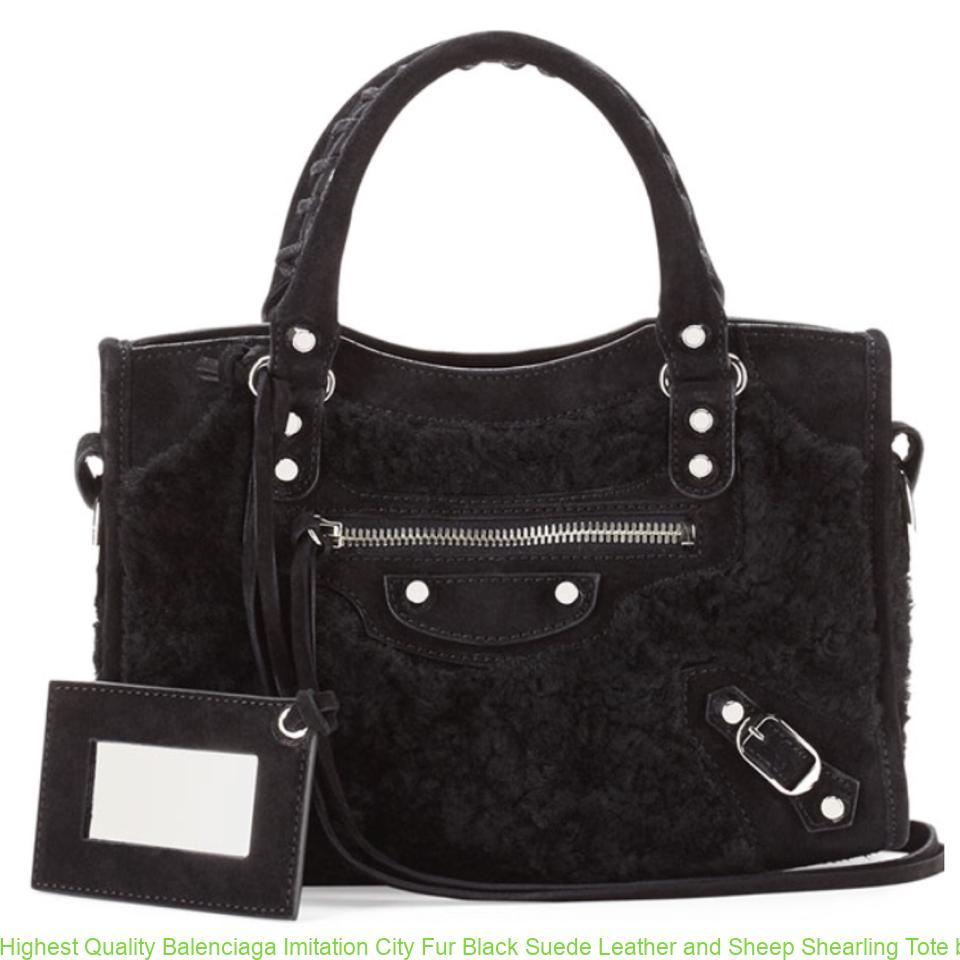 52d03a189caf Highest Quality Balenciaga Imitation City Fur Black Suede Leather and Sheep  Shearling Tote balenciaga replica city bag