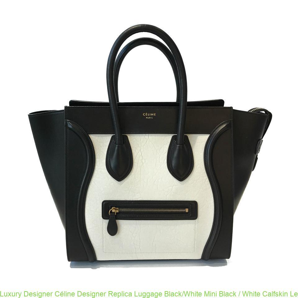 aa30706ce6ff Luxury Designer Céline Designer Replica Luggage Black White Mini Black    White Calfskin Leather Tote celine bag price