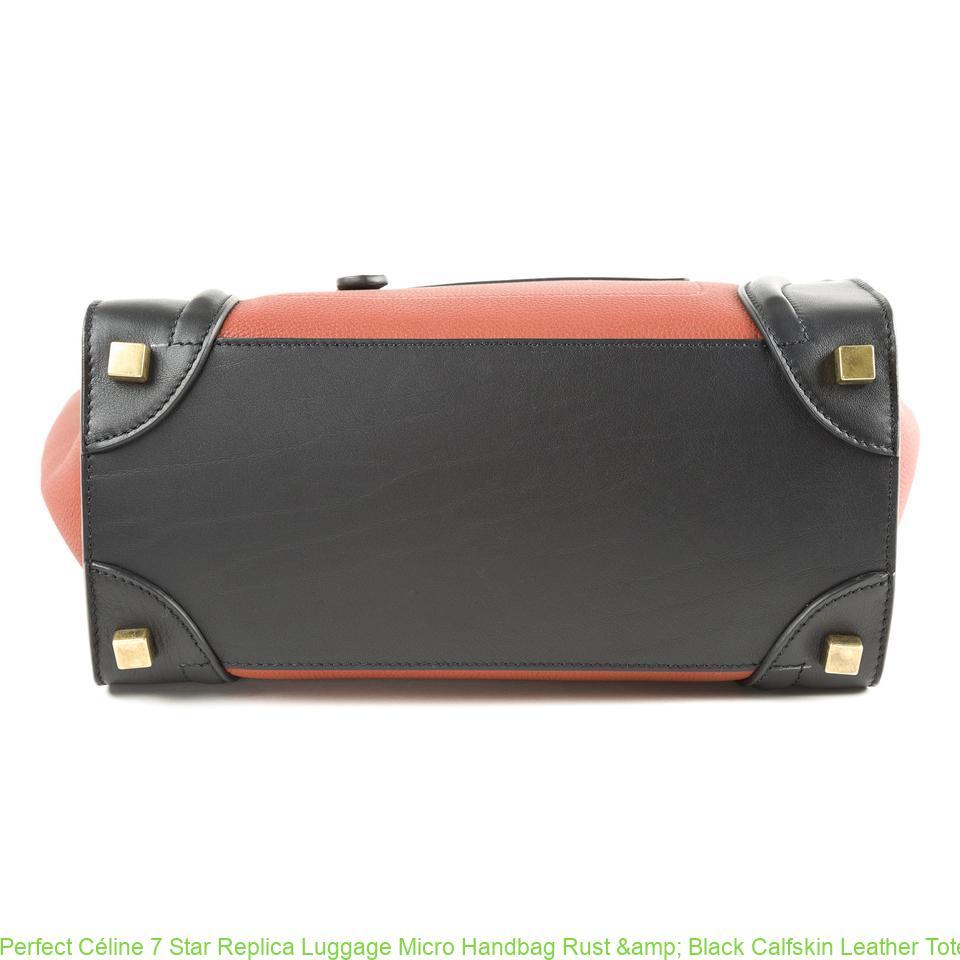 Perfect Céline 7 Star Replica Luggage Micro Handbag Rust   Black Calfskin  Leather Tote celine replica mini belt bag 6c50e18a64f92
